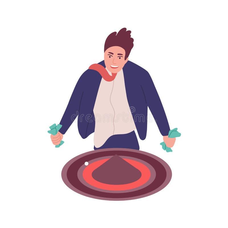 Uomo con dipendenza di gioco isolato su fondo bianco Giocatore, tipo dedicato alle roulette o gioco del casinò behavioral royalty illustrazione gratis