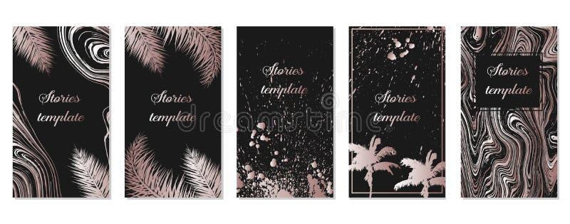 Ställa in bildrutemallar för Instagram-artiklar med rosa guldpalmblad Mall för tropiska instagram Artikelmall stock illustrationer