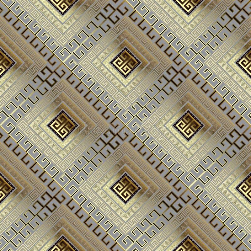 Wafel gouden 3d Grieks vector naadloos patroon Geometrische sier glanzende achtergrond Decoratief herhaal moderne achtergrond bet vector illustratie