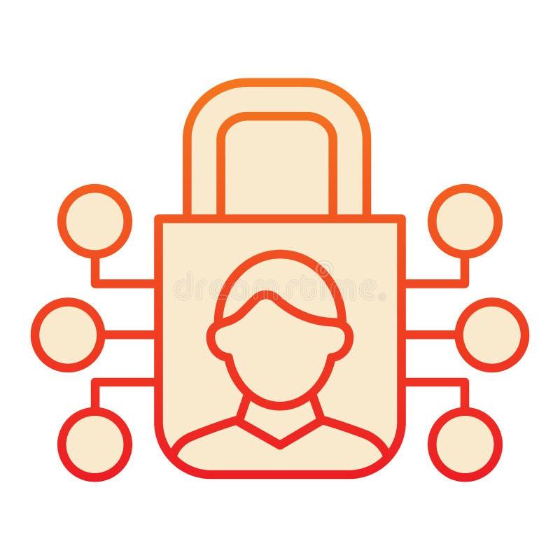 Kennzeichen und Feststellzeichen Benutzererkennung und Padlock-rote Symbole im trendigen, flachen Stil Biometrischer Zugang lizenzfreie abbildung