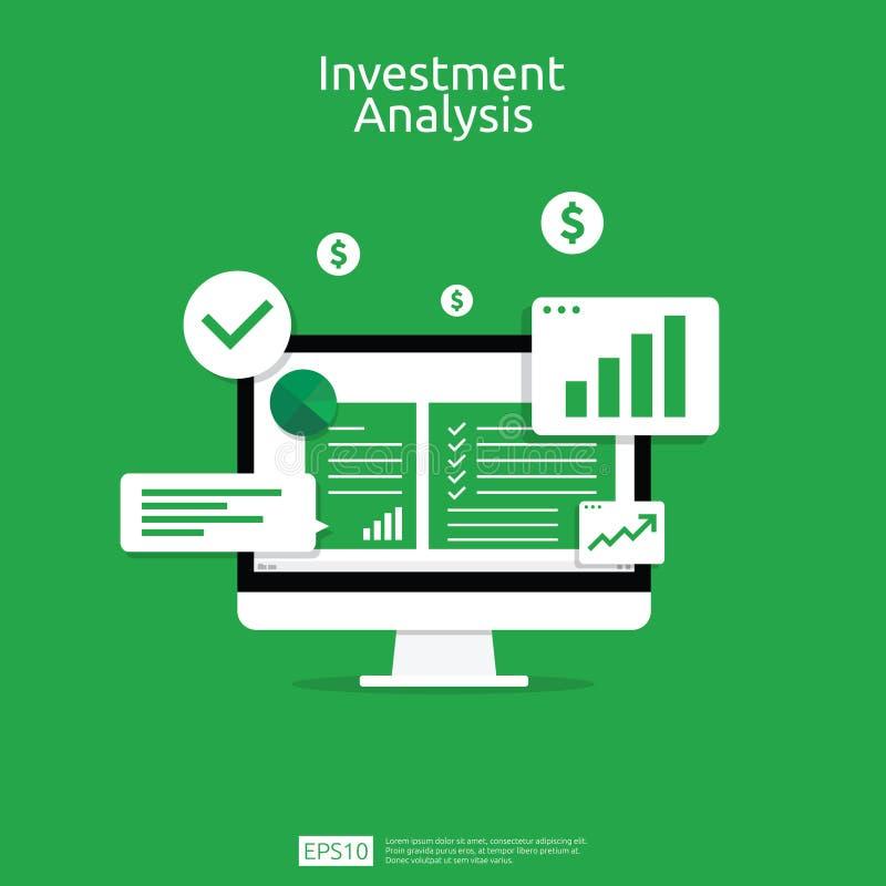 Arkusz kalkulacyjny na płaskim ekranie komputera Sprawozdanie finansowe lub koncepcja biznesowa analizy inwestycji rzeczy biurowe royalty ilustracja