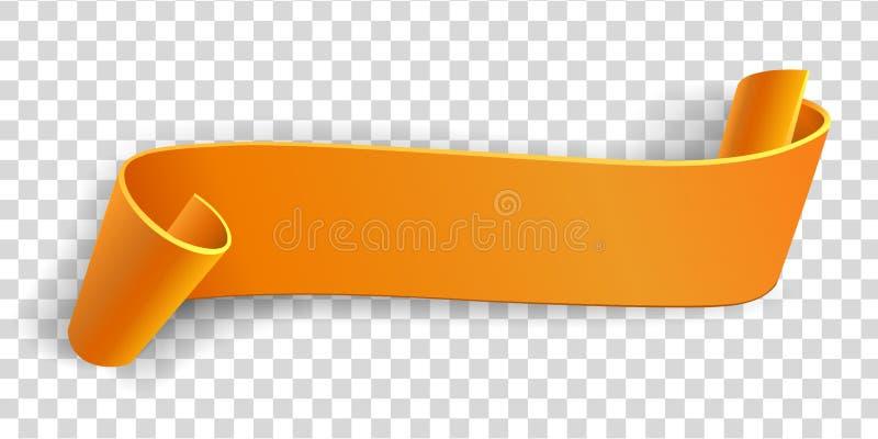 Cinta realista, bandera de papel anaranjada del color en el fondo blanco Elemento para comercializar, tarjeta de Greating blank P stock de ilustración