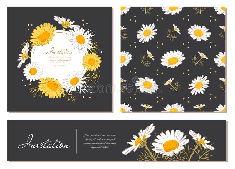 Krans för tusensköna för bakgrund för kamomill för blommakortuppsättning Blommor och sidor av tusenskönor på en mörk bakgrund Blo vektor illustrationer