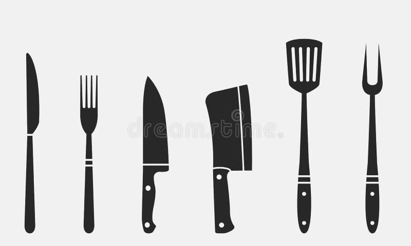 Chevalets de boucher, fourche grillagée et spatules Fourche et couteau, couteau à viande, cuvette, chef, fourche barbecue Couteau illustration libre de droits