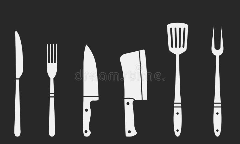 Chevalets de boucher, fourche grillagée et spatules Fourche et couteau, couteau à viande, cuvette, chef, fourche barbecue Couteau illustration de vecteur