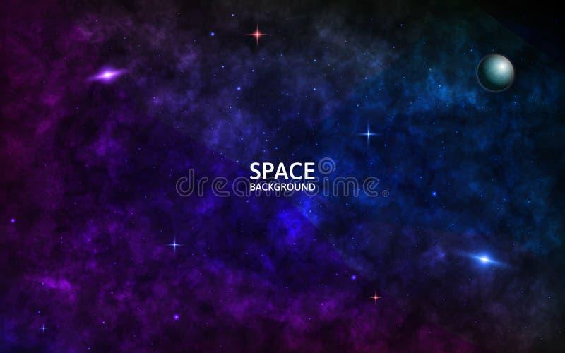 Rymdbakgrund med galaxer, strålande stjärnor och planet Realistiska kosmos med stjärndamm och färgstark nebuli ljus royaltyfri illustrationer