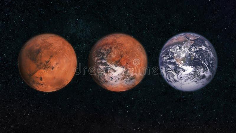 Marte y la Tierra en el espacio Transformar el planeta Marte al planeta Tierra Cambio climático Concepto de un nuevo planeta para fotografía de archivo