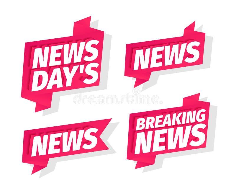 Conjunto de palabras de titulares de los días de noticias Últimas noticias del día En cinta rosa 3d letras Título de título de pr stock de ilustración