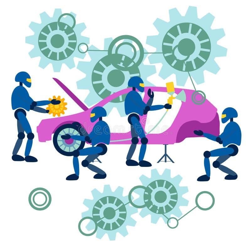 Les robots plats réparent la voiture L'assemblage de voitures est automatisé dans un style minimaliste Dessin illustration de vecteur