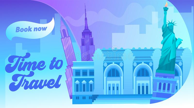 Nowojorski krajobraz ze wszystkimi znanymi kolorami budynków Wokół World Travel Concept Baner Światowe Centrum Handlu ilustracja wektor
