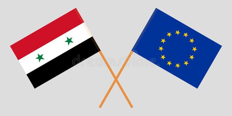Siria e UE Bandiere della Siria e dell'Unione europea Colori ufficiali Corretta proporzione Vettore royalty illustrazione gratis