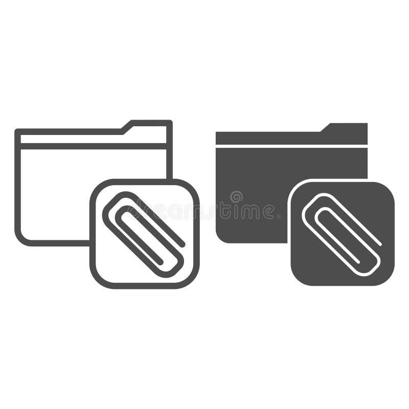 Angehängte Ordnerzeile und Symbol Ordner mit Clip-Vektorgrafik in weiß Computerordnerstruktur stock abbildung