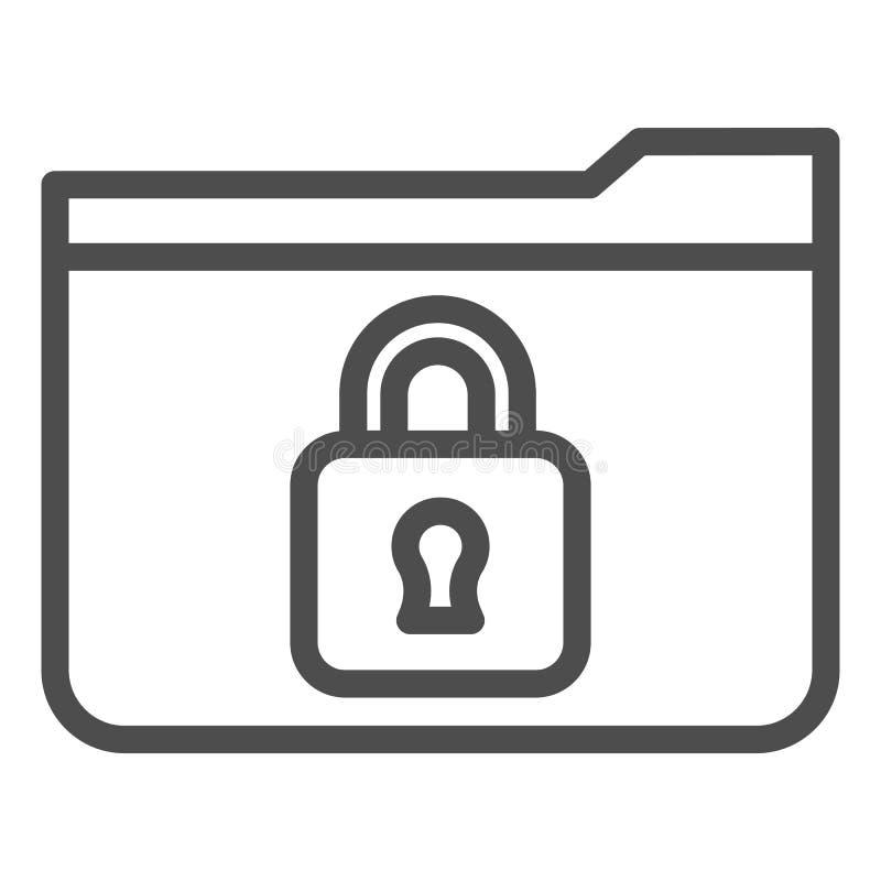 Symbol für die Ordnerzeile Ordner mit Padlock-Vektorgrafik in weiß isoliert Design des Computerordners lizenzfreie abbildung