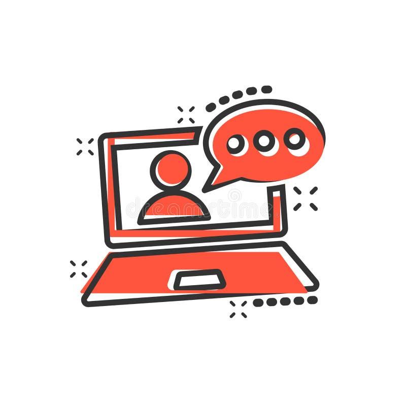 Icône de processus de formation en ligne dans le style comique Illustration du dessin animé vectoriel du séminaire Webinar Concep illustration de vecteur