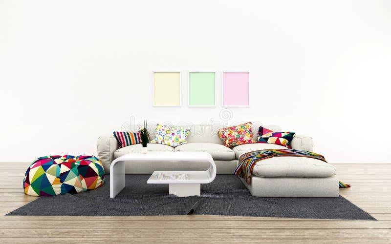 Chambre blanche avec lit. Espace de confort dans la maison. Design moderne photo stock