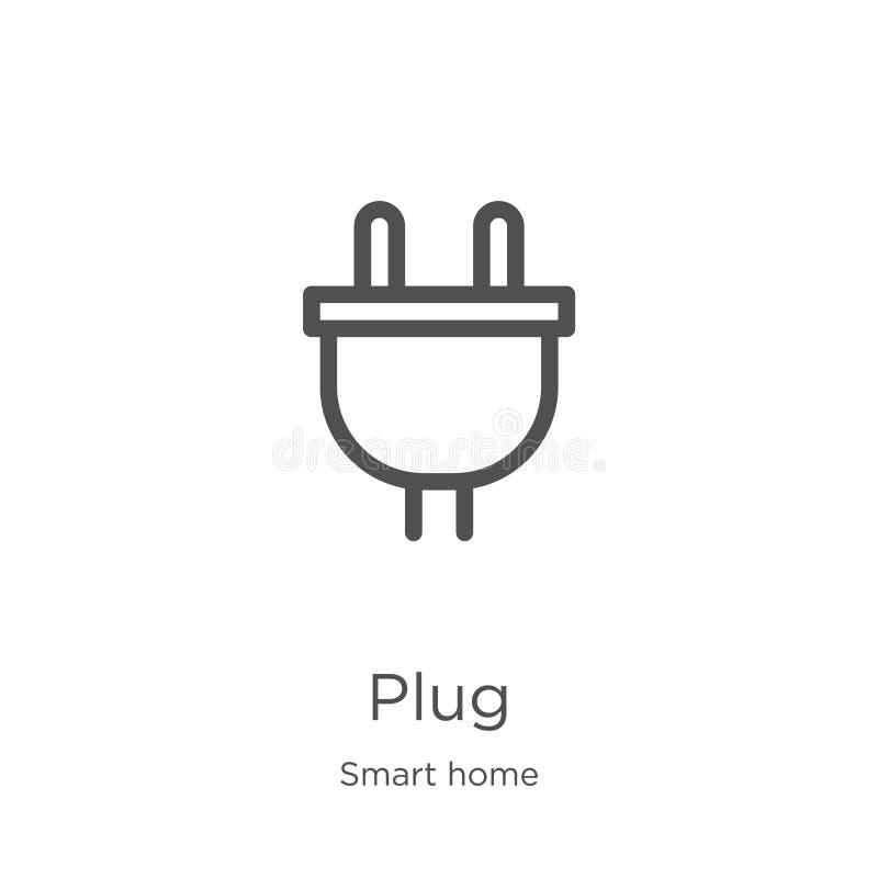 vecteur d'icône de plug-in de la collection Smart Home Illustration du vecteur d'icône de contour de la ligne mince Icône Plan, p illustration stock