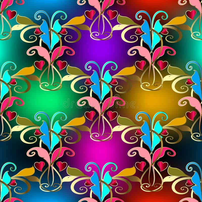 Elegance vintage standard floral colorido sem costura Fundo brilhante vetorial Plano de fundo com padrão de repetição brilhante C ilustração do vetor