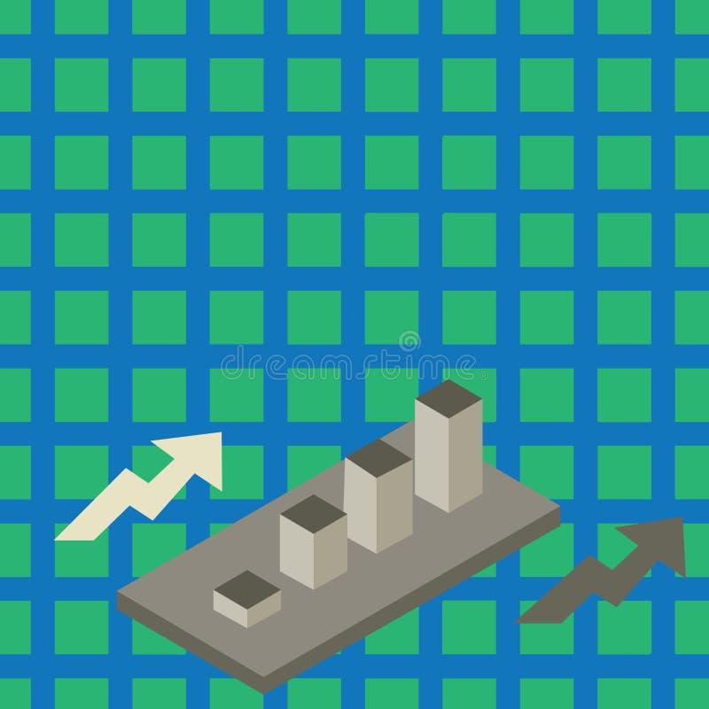 Graphique à barres 3D en cluster à croissance colorée Perspective de diagramme de diagramme de diagramme de diagramme Deux flèche illustration libre de droits