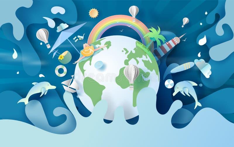 Illustratie van de zomertijd Het globale concept van de vakantie van het Milieu van de aarde zomerseizoen warm voor spetwater Cre royalty-vrije illustratie