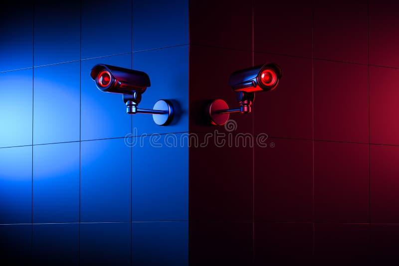 墙角有两台监控摄象头 监视概念的好与坏 3D渲染 皇族释放例证