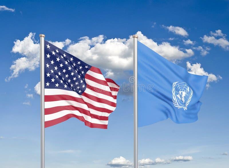 Соединенные Штаты Америки против Организации Объединенных Наций Громкие шелковые флаги Америки и Организации Объединенных Наций 3 иллюстрация штока