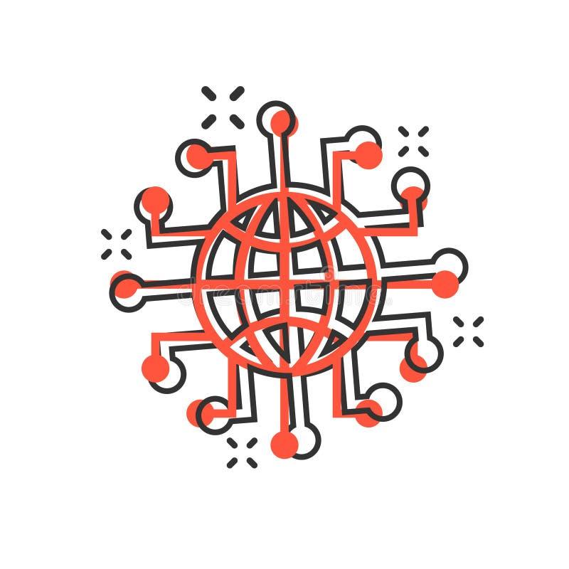 Symbol för globalt nätverk i komisk stil Illustration för tecknad film för Cybervärldsvektor på vit isolerad bakgrund 3d framf?r vektor illustrationer