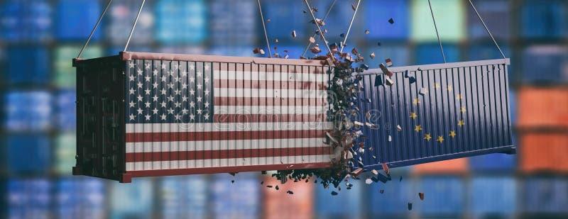 Europa versus de handelsoorlog van de V.S. Verpletterde containers, banner 3D Illustratie vector illustratie