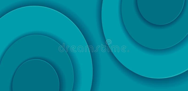 Formes rondes de coupe de papier sur le fond horizontal Calibre abstrait de vecteur de turquoise avec des formes douces de couche illustration stock