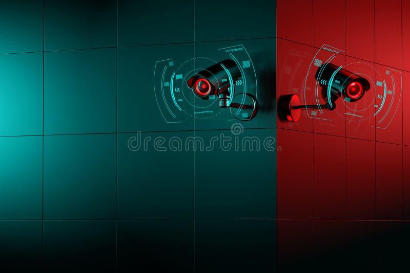 墙角有复印空间的两台监控摄像头 监视概念的好与坏 3D渲染 库存例证