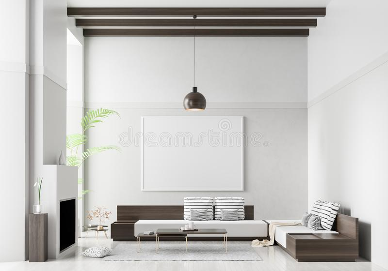 在斯堪的纳维亚样式内部的假装海报框架 与壁炉的最低纲领派现代室内设计 3d?? 库存例证