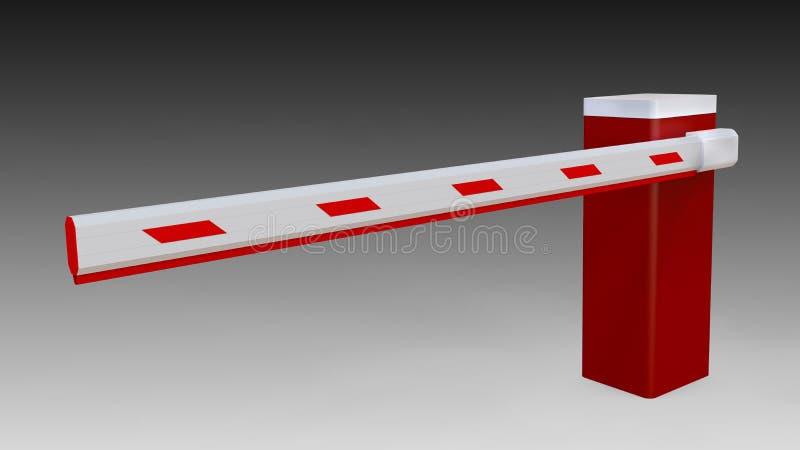 具有臂架的自动屏障 付费停车 3D渲染 向量例证