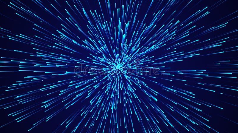 Abstracte cirkelsnelheid achtergrond Dynamisch lijnpatroon doorbreken Abstract gegevensstroomachtergrond 3D-rendering stock illustratie