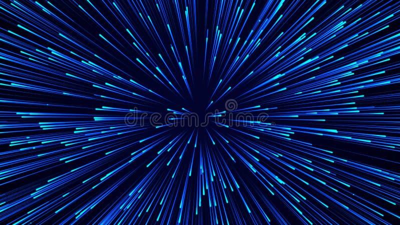 Abstracte cirkelsnelheid achtergrond Dynamisch lijnpatroon doorbreken Abstract gegevensstroomachtergrond 3D-rendering vector illustratie
