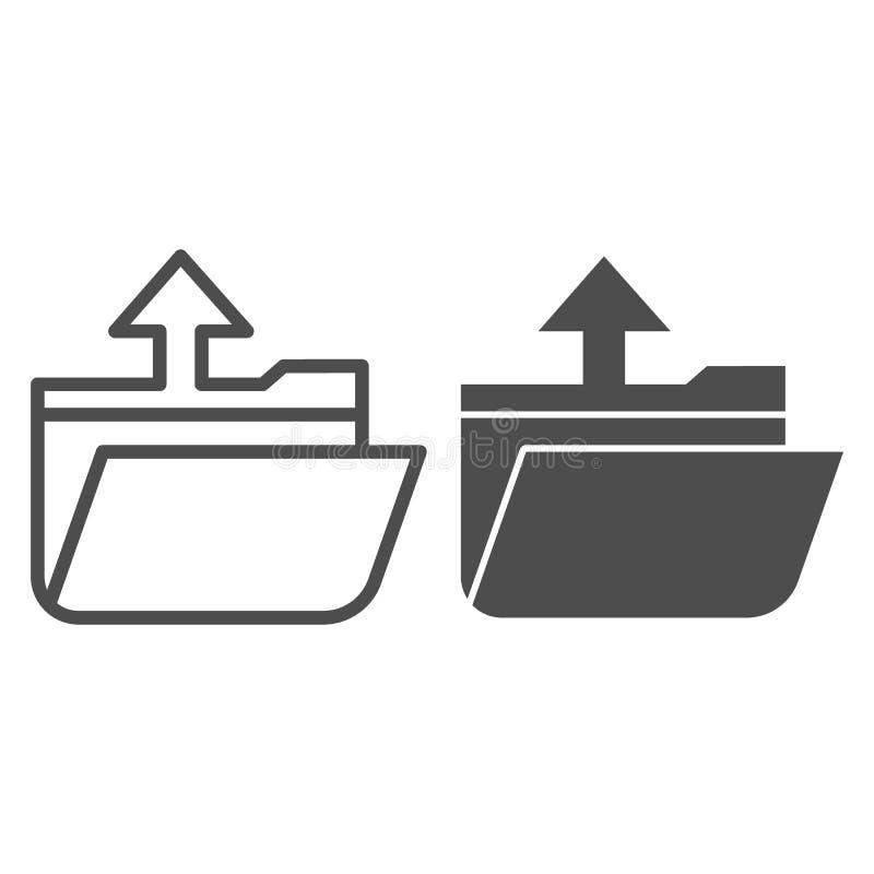 De extractielijn van de omslag en pictogram glyph De open vectorillustratie van de omslag die op wit wordt geïsoleerd Opslagconto stock illustratie