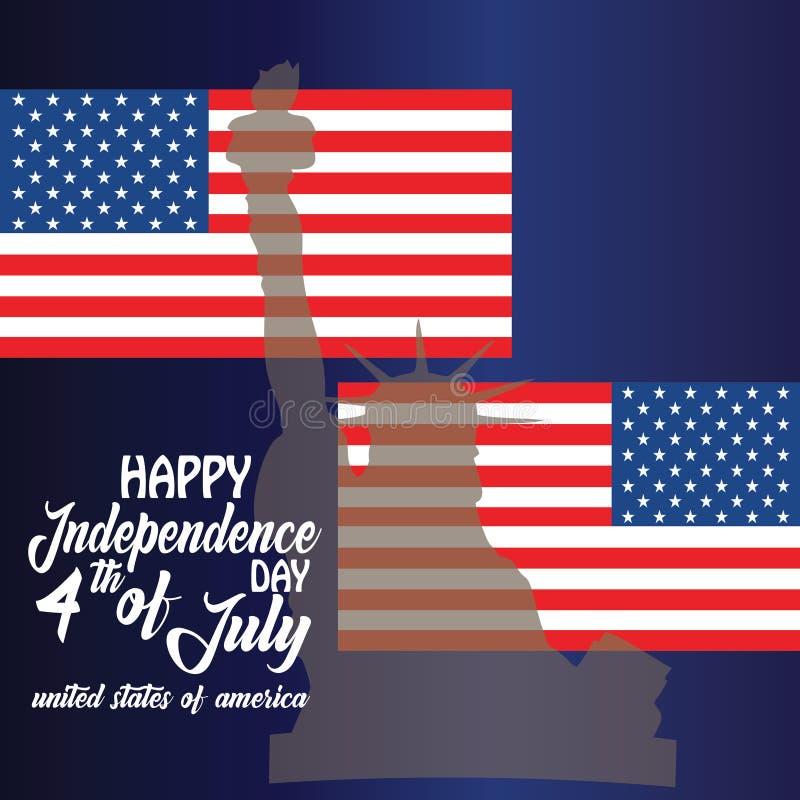 Blackguard voor 4 juli met Amerikaanse vlag en Confetti Dag van de onafhankelijkheid van de VS met Amerikaanse vlag VS 4 juli stock foto's