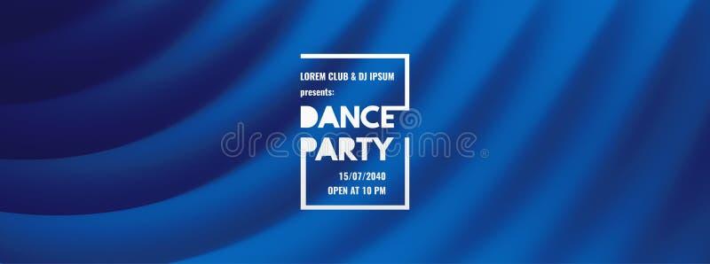 De uitnodiging van de danspartij met datum en tijddetails Theater blauw gordijn De vlieger of de banner van de muziekgebeurtenis  royalty-vrije illustratie