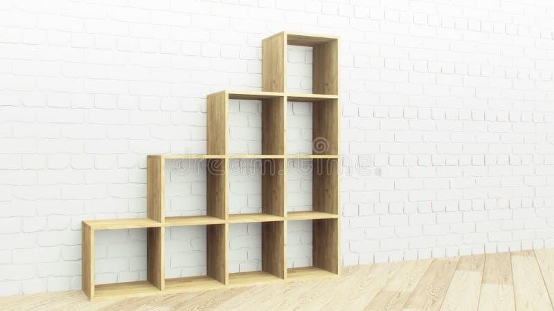 Estante de madera sobre el fondo blanco de la pared de ladrillo Estante de madera vacío en estilo realista Decoraci?n de madera p ilustración del vector