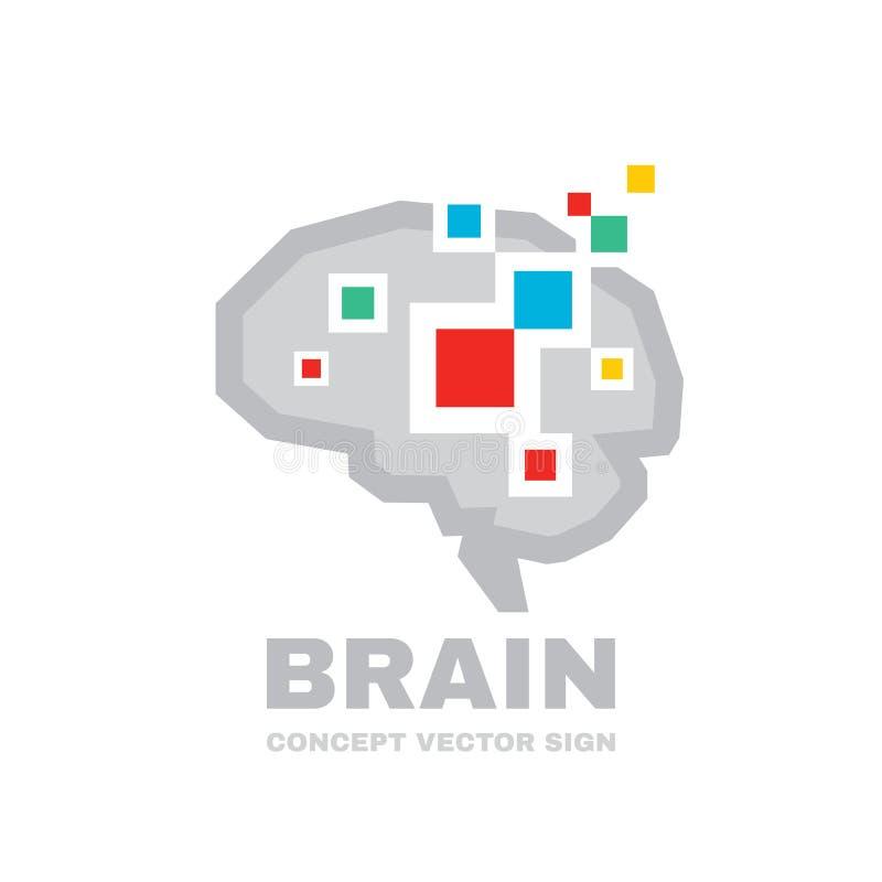 人脑-商业矢量徽标模板概念图示 抽象几何结构 心智教育符号 图解 库存例证