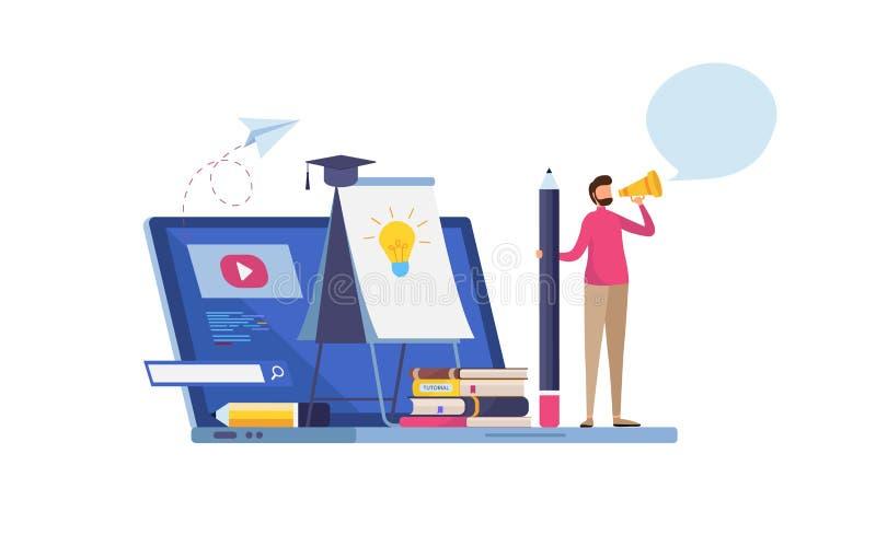 Szkolenia online, e-kształcenie internetowe kursy biznesowe Studia w domu Samouczek dotyczący witryny internetowej Edukacja Ilust royalty ilustracja