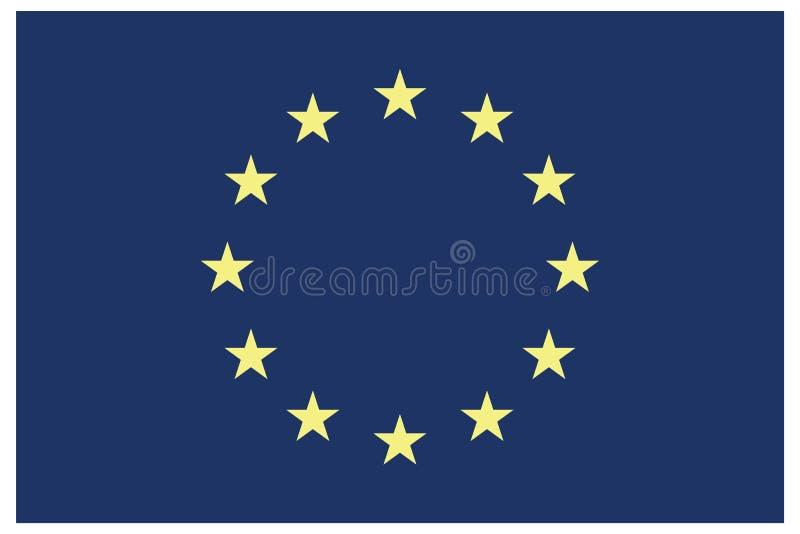 Drapeau de l'Union européenne avec étoiles en cercle Pavillon Euro eps10 Drapeau de l'Union européenne aux proportions et aux cou illustration de vecteur