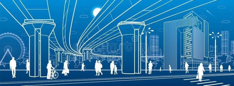 Centrum biznesowe, architektura miasta Ludzie chodzący ulicą miasta Przejście dla dróg Most drogowy, wiadukt Życie miejskie Konst ilustracja wektor