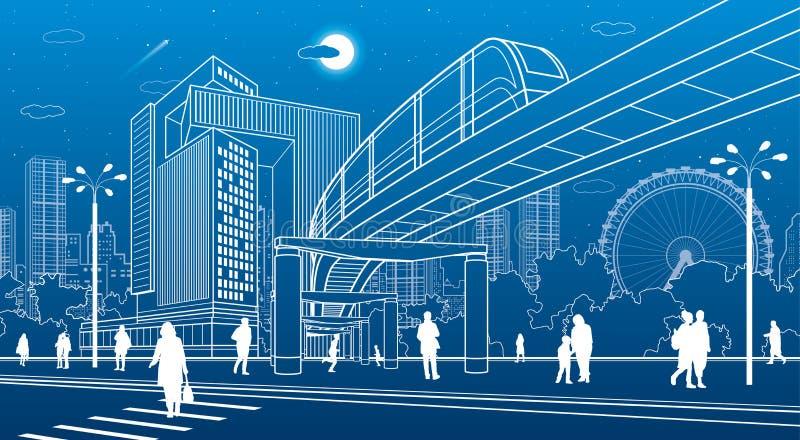 Centrum biznesowe, architektura miasta Ludzie chodzący ulicą miasta Przejście dla dróg Mostek jednoszynowy, ruch pociągu Życie mi royalty ilustracja