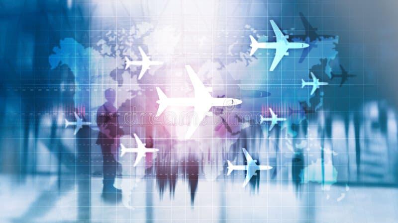 Wereldkaart met vliegroutevliegtuigen Toerisme in de mondiale luchtvaart Dubbele belichtingsachtergrond royalty-vrije illustratie
