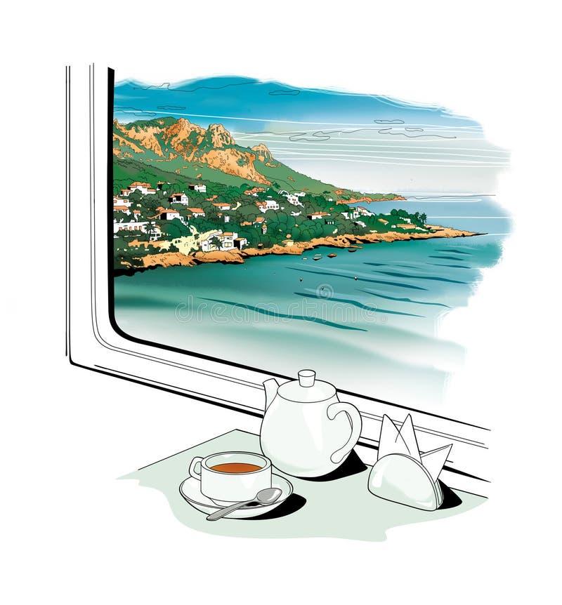 Raam in de trein, een landschap vlakbij de zee buiten het treinraam Levensduur voor thee drinken Een kopje thee op een schotel royalty-vrije illustratie