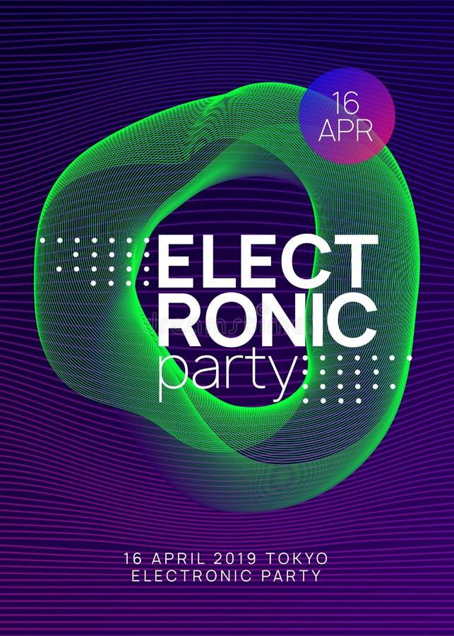 Ulotka klubowa Neon Electro dance Dj Elektrownie ilustracja wektor