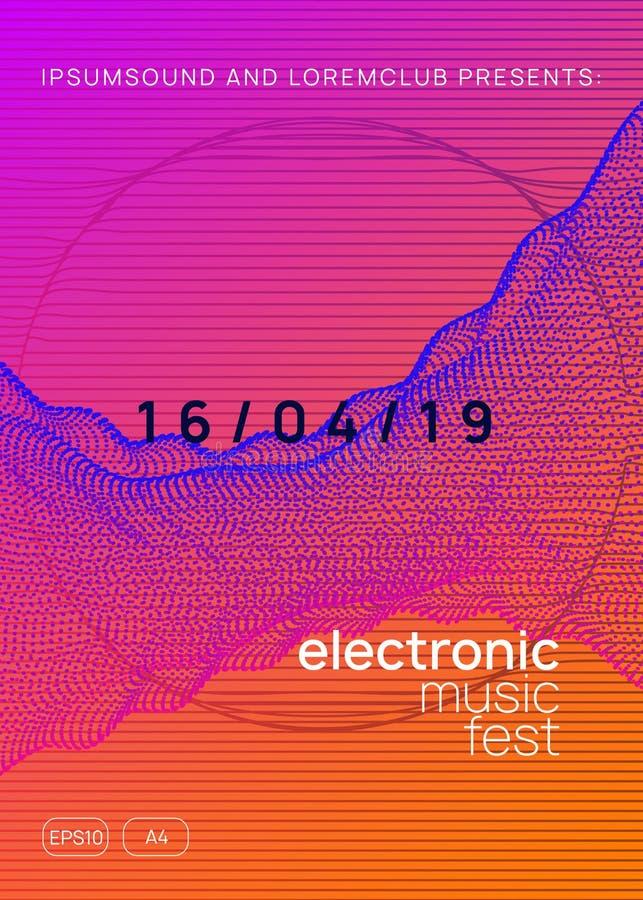 Ulotka klubowa Neon Electro dance Dj Elektrownie royalty ilustracja