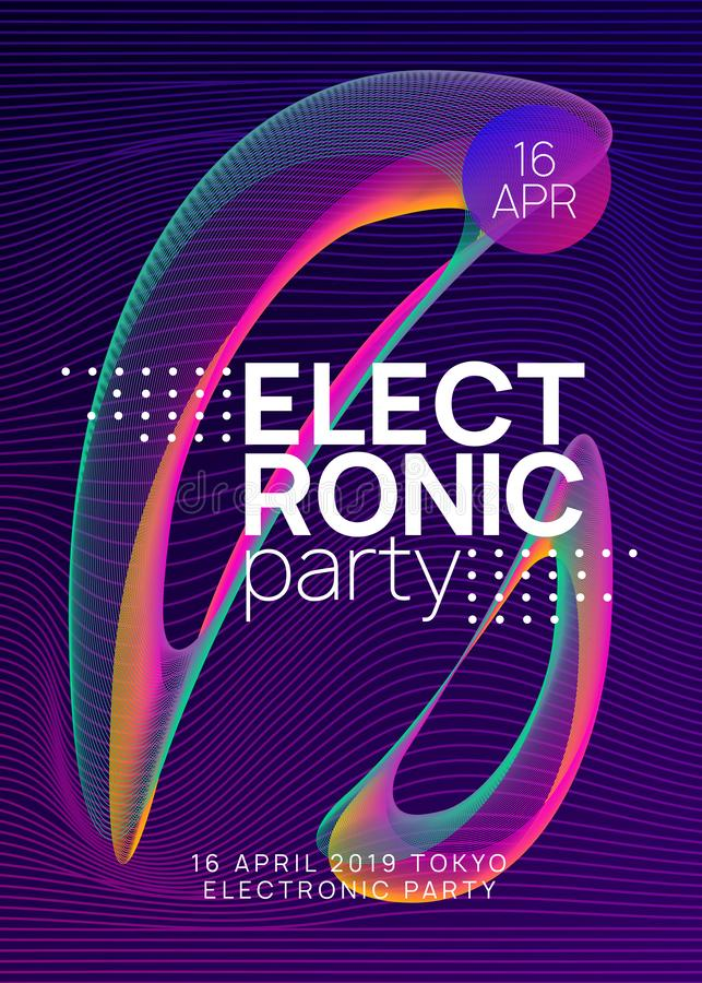 Folheto do clube neon Música de dança eletrônica Dj do partido Trance Eletroni ilustração royalty free