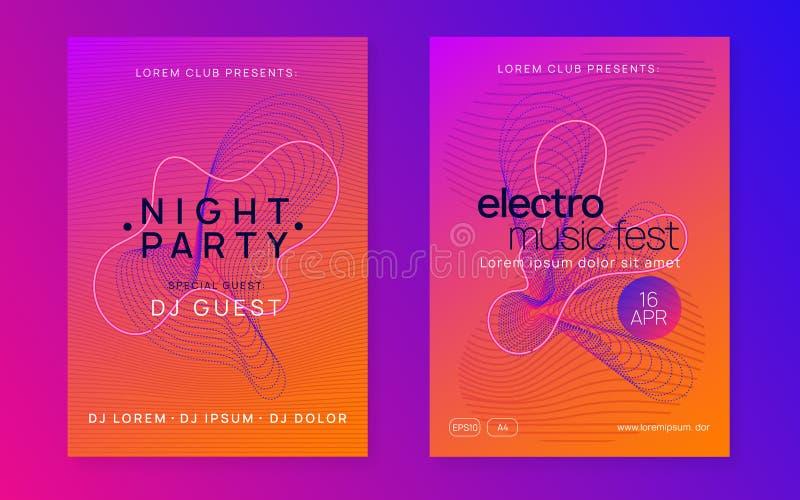 Ulotka klubowa Neon Electro dance Dj Plakat zdarzenia elektronicznego festu dźwiękowego ilustracji