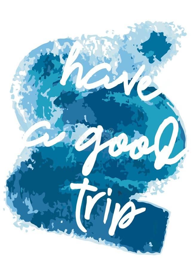 Cartão de saudação com traçados de pincel azul Tenha bons desejos de viagem Elementos de escala desenhados à mão foto de stock royalty free