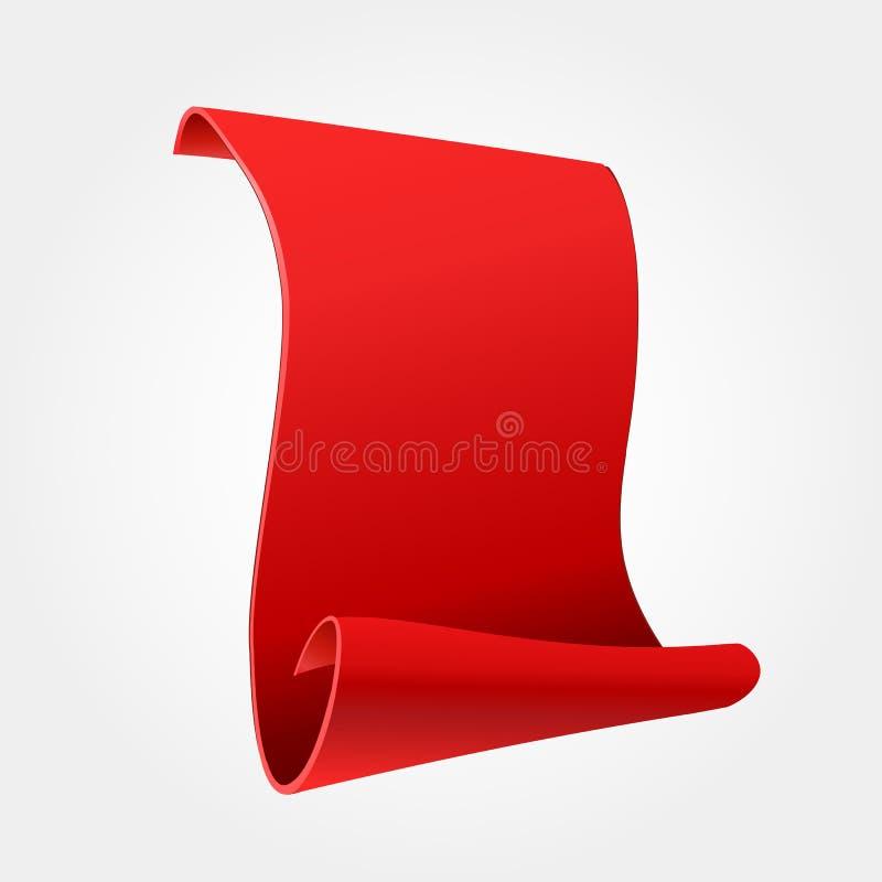 Bandera roja decorativa Bandera de papel curvada, roja realista en el fondo blanco Enhorabuena Tarjeta de Greating blank Rojo stock de ilustración